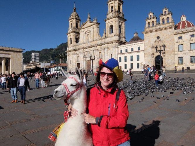 Auf der Plaza Bolívar von Bogotá trifft man auch das Lama